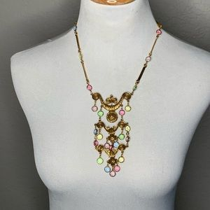 Gold Tone Pink Green Blue Statement Necklace Bling